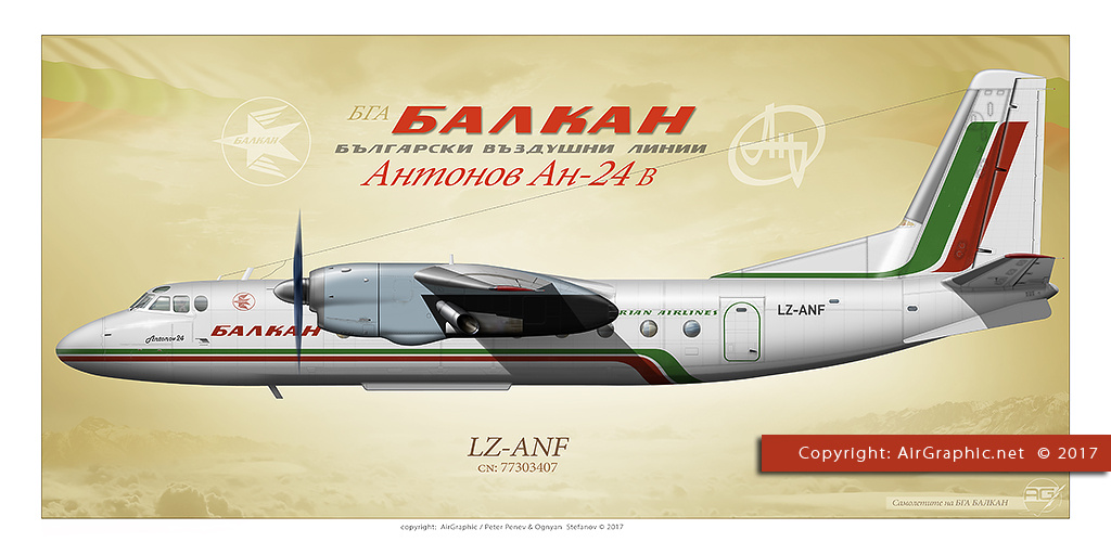 Antonov An-24B LZ-ANF - New BALKAN Livery (Poster 60x30 cm)