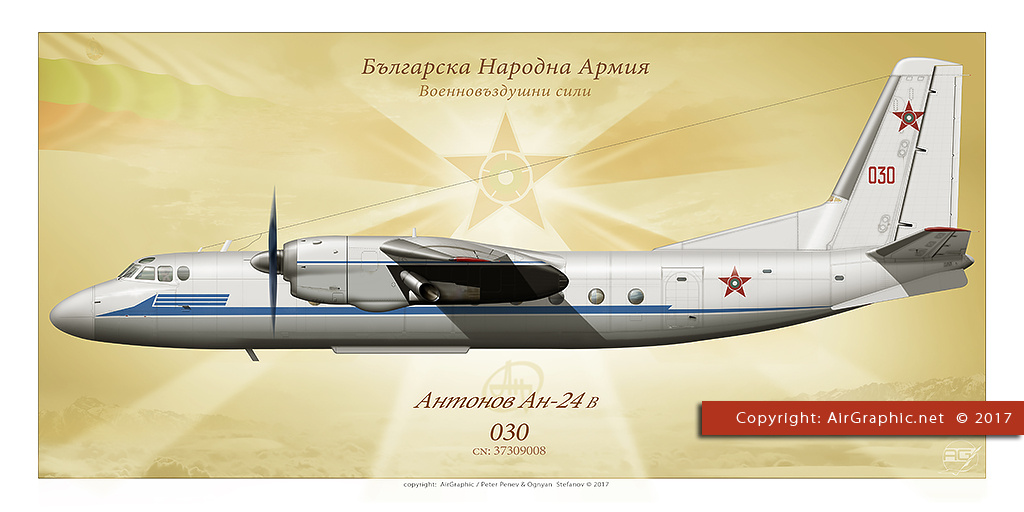 Antonov An-24B 030 Bulgarian Air Force (Poster 60x30 cm)