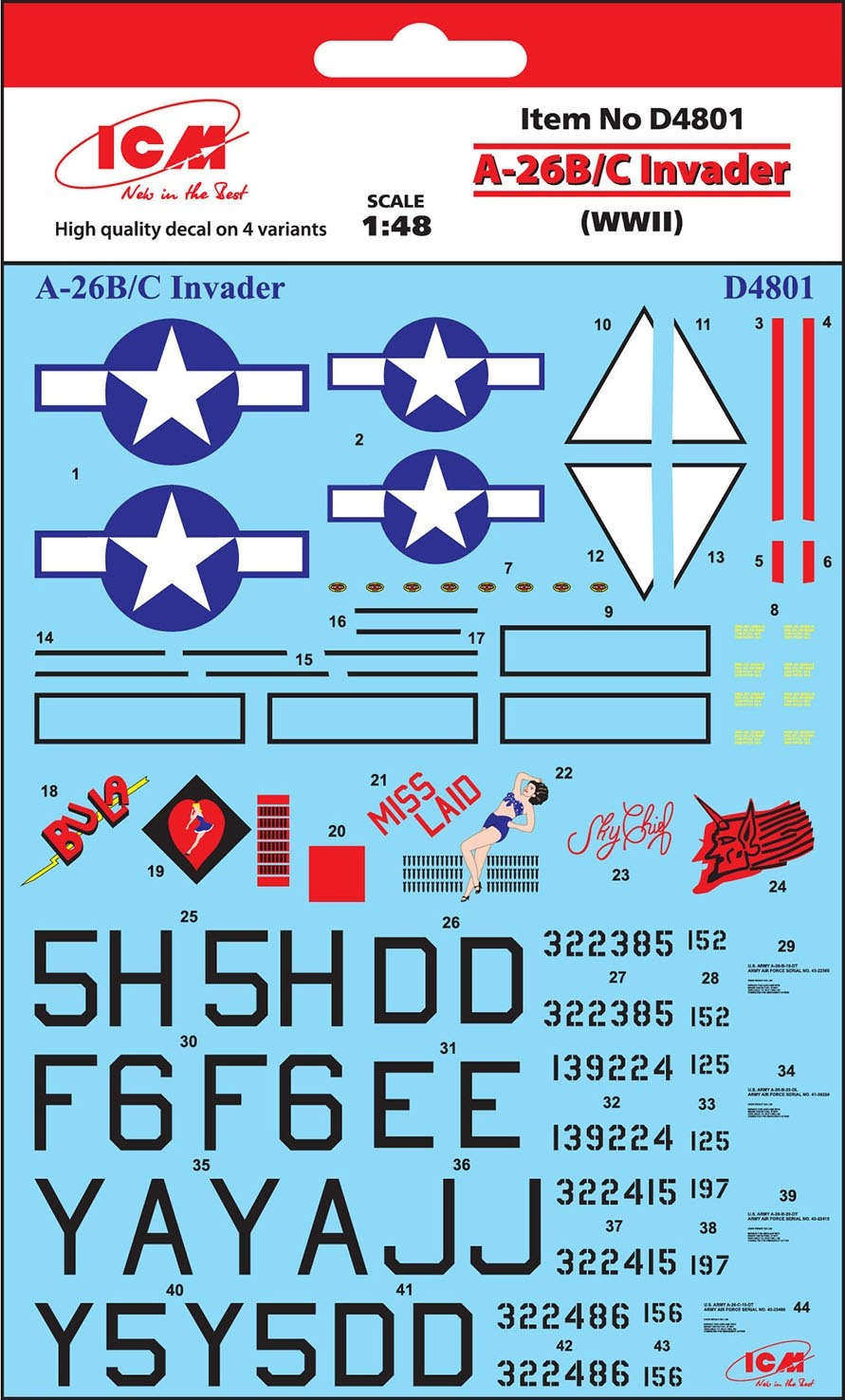 1:48 Douglas A-26B/C Invader Decal Sheet (Pre-Order)