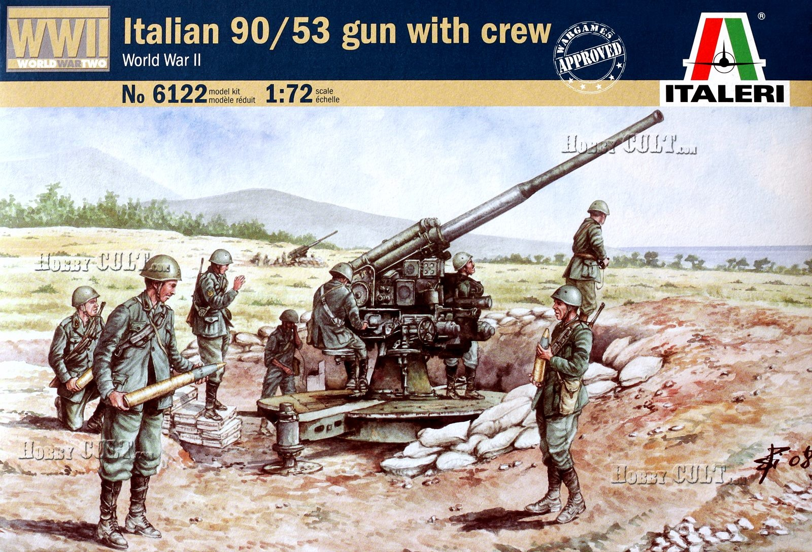 1:72 Italian 90mm Anti-Aircraft Cannone da 90/53 w/Servants