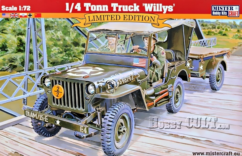 1:72 U.S. 1/4 ton Willys MB Jeep w/Trailer