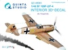 1:48 Bf 109F-2/F-4 3D-Printed & coloured Interior on decal paper