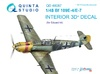 1:48  Bf 109E-4/E-7 3D-Printed & coloured Interior on decal pape