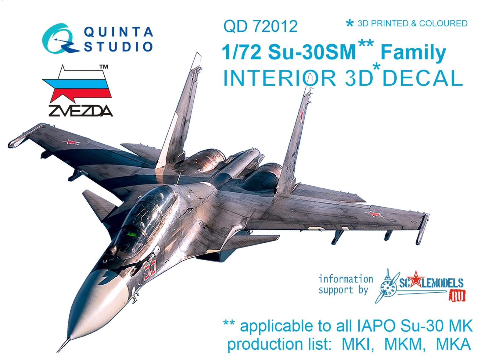 1:72 Su-30SM  3D-Printed & coloured Interior on decal paper  (fo