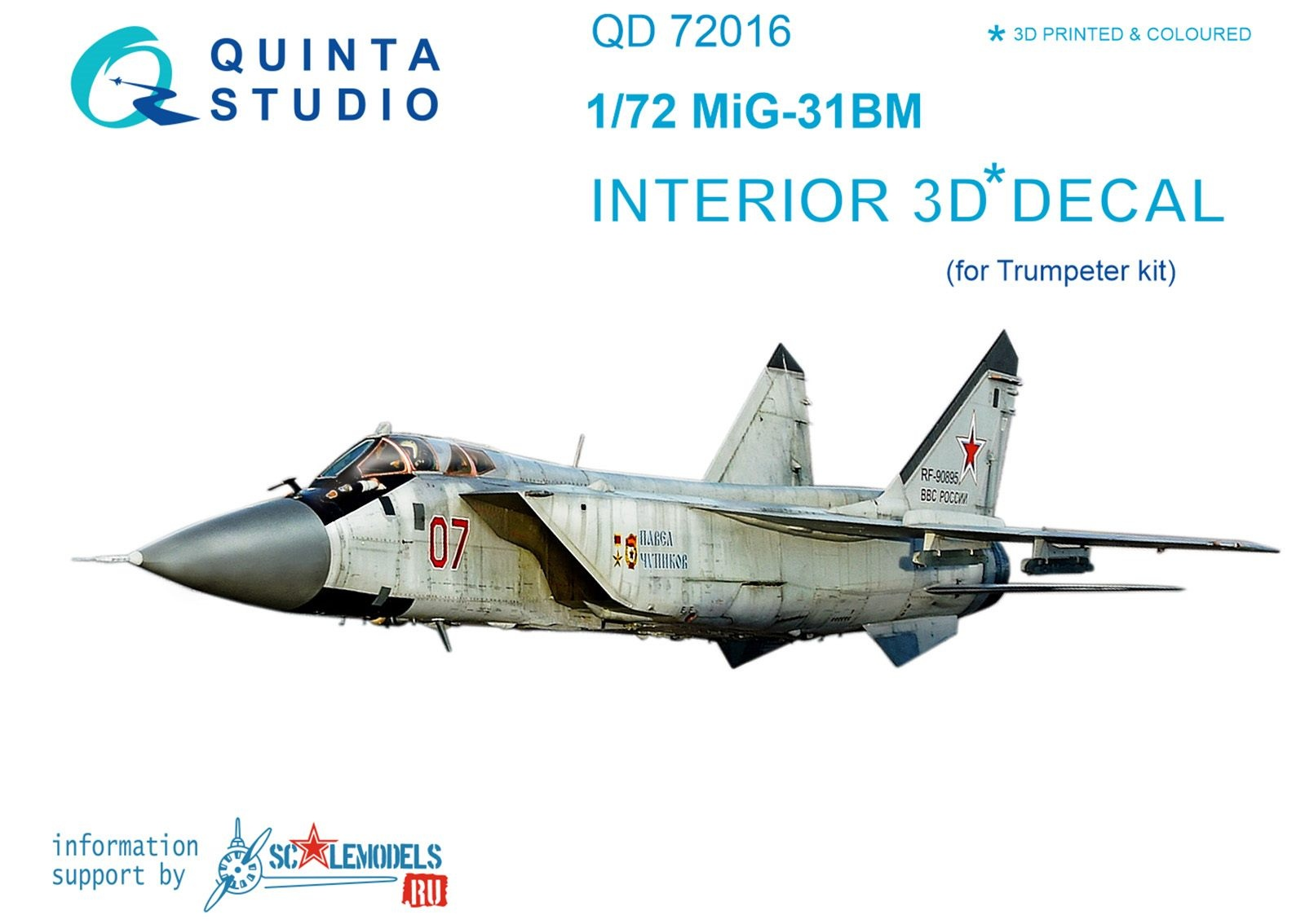 1:72 MiG-31BM  3D-Printed & coloured Interior on decal paper  (f